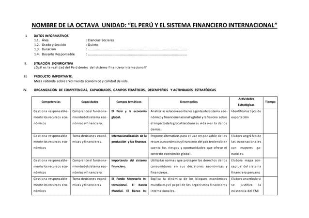 """NOMBRE DE LA OCTAVA UNIDAD: """"EL PERÚ Y EL SISTEMA FINANCIERO INTERNACIONAL"""" I. DATOS INFORMATIVOS 1.1. Área : Ciencias Soc..."""