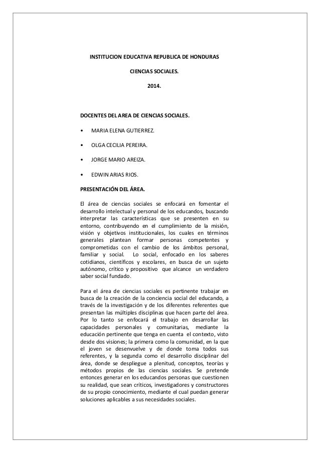 INSTITUCION EDUCATIVA REPUBLICA DE HONDURAS CIENCIAS SOCIALES. 2014. DOCENTES DEL AREA DE CIENCIAS SOCIALES. • MARIA ELENA...
