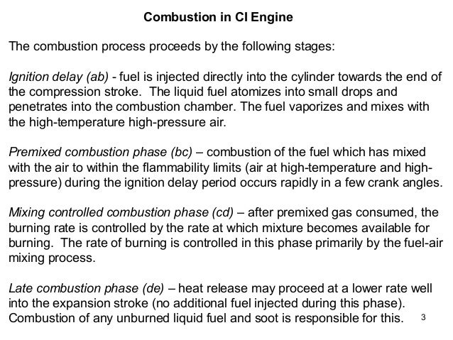 combustion in ci engines Initial combustion in a ci engine is rough and uncontrolled because the mixture may ignite spontaneously at more then one place in the goering et al, 2003, off-road vehicles, asae performance comparison of ci and si engines con't.