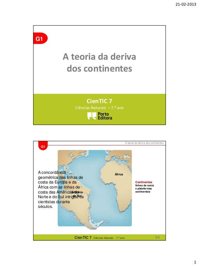 21-02-2013  G1  A teoria da deriva dos continentes CienTIC 7 Ciências Naturais – 7.º ano  A teoria da deriva dos continent...