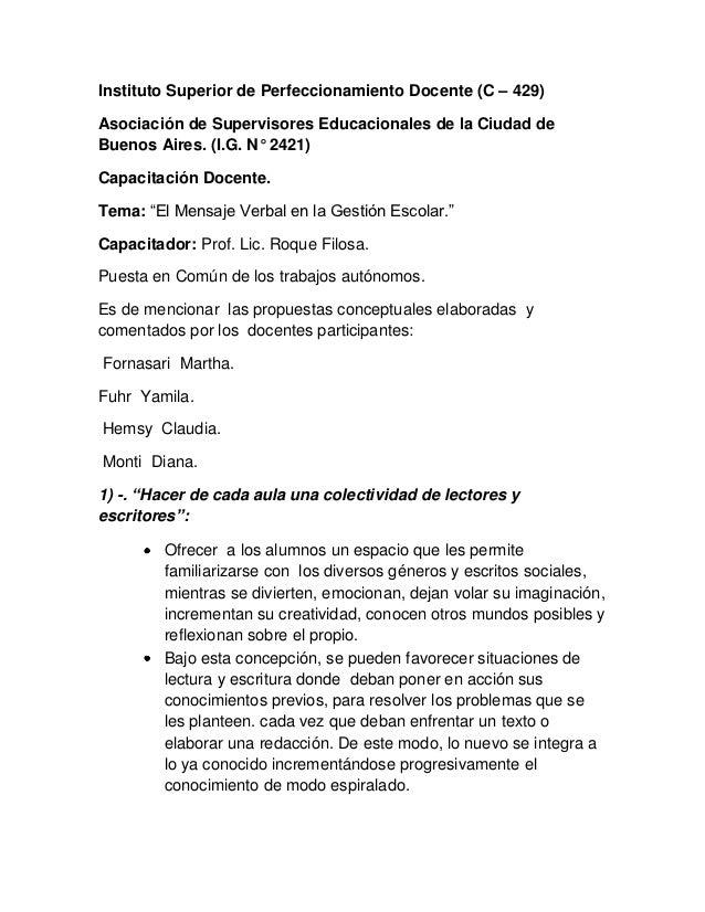 Instituto Superior de Perfeccionamiento Docente (C – 429)Asociación de Supervisores Educacionales de la Ciudad deBuenos Ai...