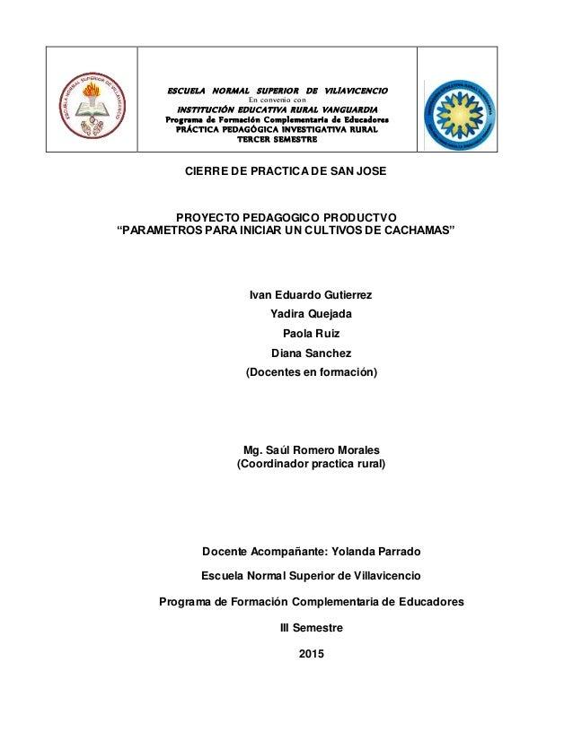 ESCUELA NORMAL SUPERIOR DE VILlAVICENCIO En convenio con INSTITUCIÓN EDUCATIVA RURAL VANGUARDIA Programa de Formación Comp...