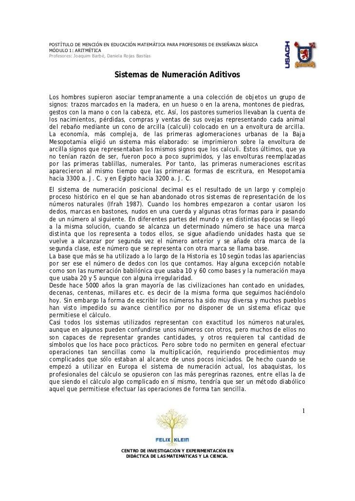 POSTÍTULO DE MENCIÓN EN EDUCACIÓN MATEMÁTICA PARA PROFESORES DE ENSEÑANZA BÁSICA MÓDULO 1: ARITMÉTICA Profesores: Joaquim ...
