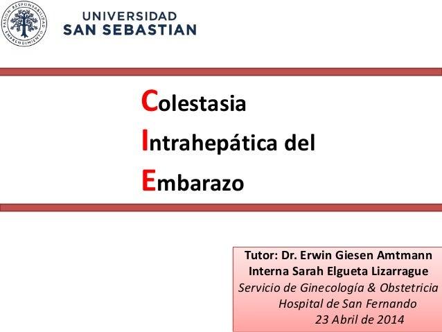 Colestasia Intrahepática del Embarazo Tutor: Dr. Erwin Giesen Amtmann Interna Sarah Elgueta Lizarrague Servicio de Ginecol...