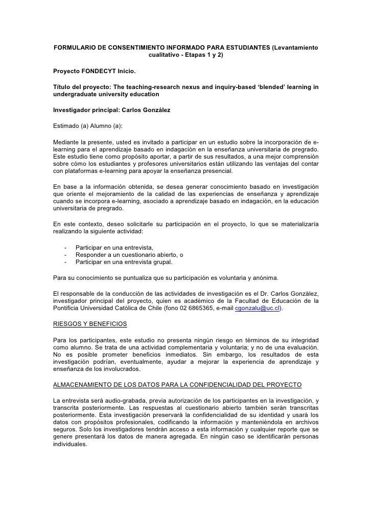 FORMULARIO DE CONSENTIMIENTO INFORMADO PARA ESTUDIANTES (Levantamiento                        cualitativo - Etapas 1 y 2)P...