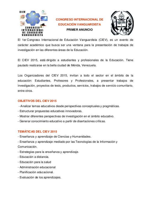 CONGRESO INTERNACIONAL DE EDUCACIÓN VANGUARDISTA PRIMER ANUNCIO El 1er Congreso Internacional de Educación Vanguardista (C...