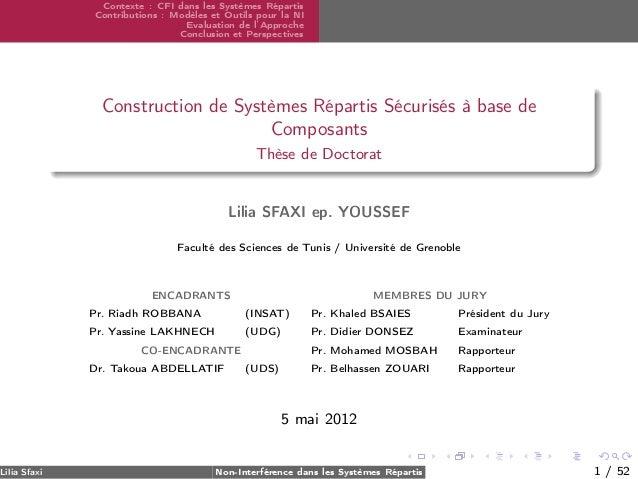 Lilia Sfaxi  Contexte : CFI dans les Systèmes Répartis Contributions : Modèles et Outils pour la NI Evaluation de l'Approc...
