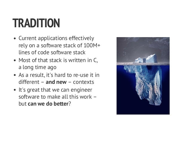 TRADITION Current applications effectively rely on a software stack of 100M+ lines of code software stack Most of that sta...