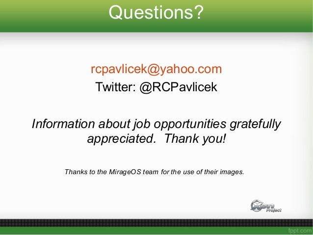 Questions? rcpavlicek@yahoo.com Twitter: @RCPavlicek Information about job opportunities gratefully appreciated. Thank you...