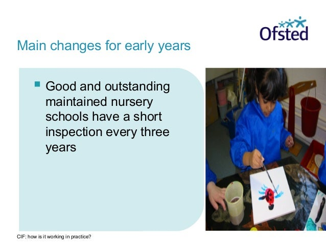 CIF: how is it working in practice?  Good and outstanding maintained nursery schools have a short inspection every three ...