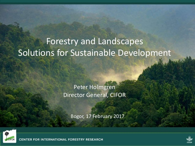 Forestry and Landscapes Solutions for Sustainable Development Peter Holmgren Director General, CIFOR Bogor, 17 February 20...