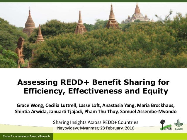 Assessing REDD+ Benefit Sharing for Efficiency, Effectiveness and Equity Grace Wong, Cecilia Luttrell, Lasse Loft, Anastas...
