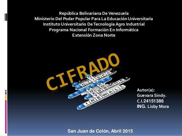 República Bolivariana DeVenezuela Ministerio Del Poder Popular Para La Educación Universitaria Instituto Universitario DeT...