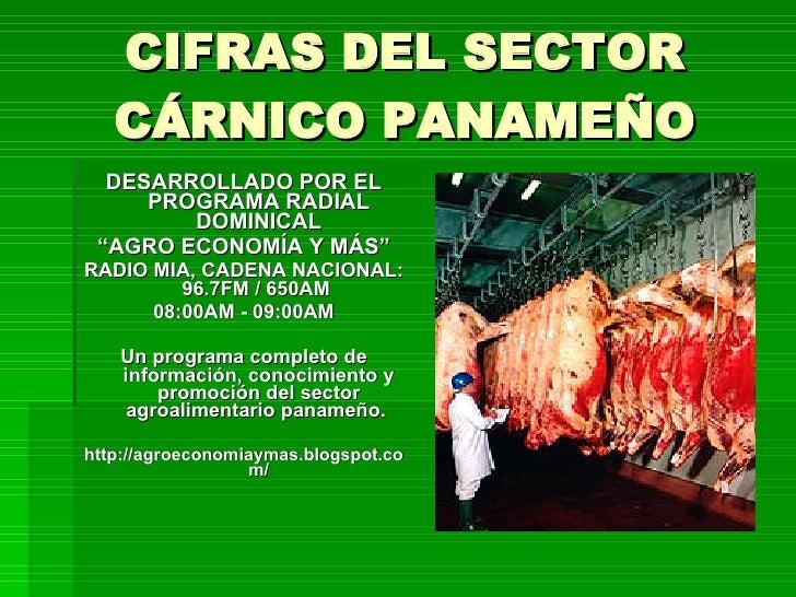 """CIFRAS DEL SECTOR CÁRNICO PANAMEÑO <ul><li>DESARROLLADO POR EL PROGRAMA RADIAL DOMINICAL </li></ul><ul><li>"""" AGRO ECONOMÍA..."""