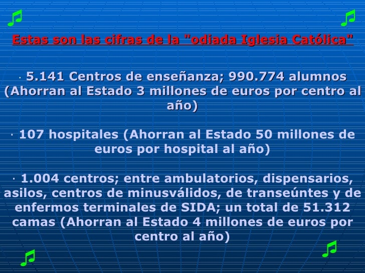"""Estas son las cifras de la """"odiada Iglesia Católica"""" ·  5.141 Centros de enseñanza; 990.774 alumnos (Ahorran al..."""