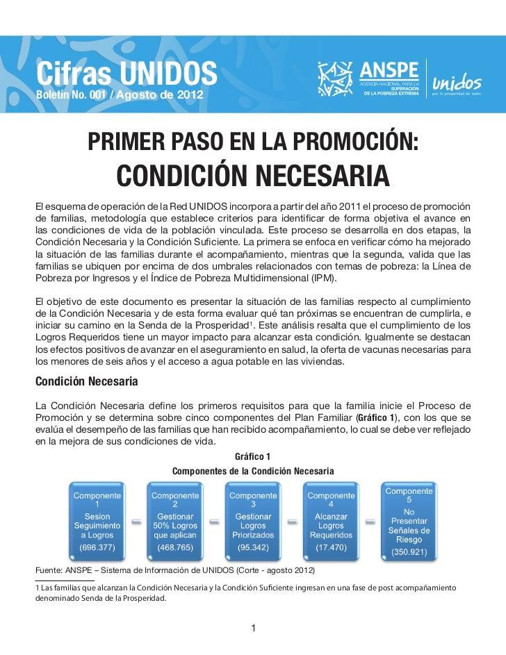 Cifras UNIDOSBoletín No. 001 / Agosto de 2012               PRIMER PASO EN LA PROMOCIÓN:                       CONDICIÓN N...