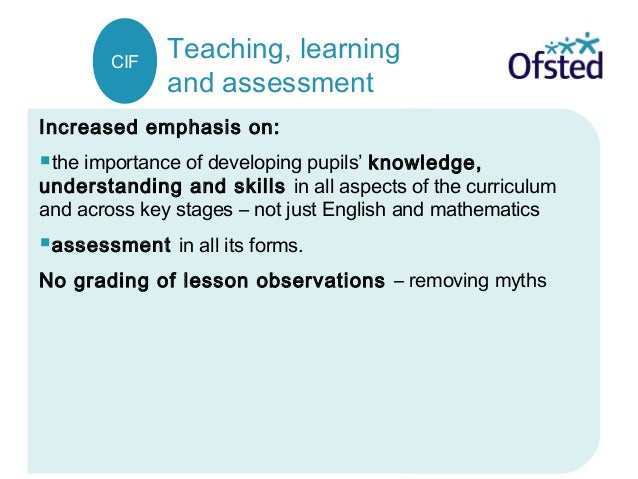 Teaching, learning and assessment Increased emphasis on: the importance of developing pupils' knowledge, understanding an...