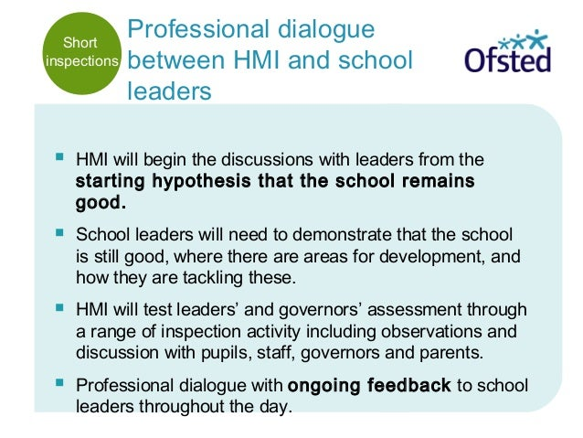 Professional dialogue between HMI and school leaders  HMI will begin the discussions with leaders from the starting hypot...