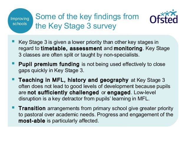 Some of the key findings from the Key Stage 3 survey  Key Stage 3 is given a lower priority than other key stages in rega...