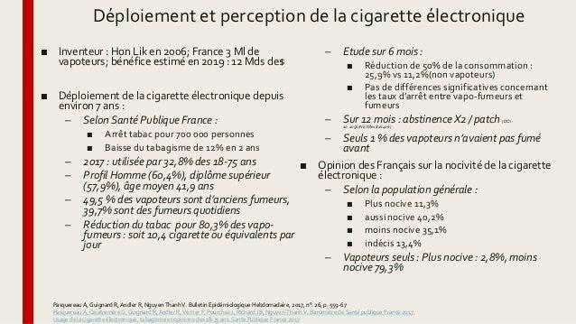Déploiement et perception de la cigarette électronique ■ Inventeur : Hon Lik en 2006; France 3 Ml de vapoteurs; bénéfice e...