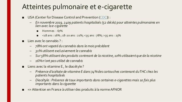 Atteintes pulmonaire et e-cigarette ■ USA (Center for Disease Control and Prevention (CDC)) : – En novembre 2019, 2409 pat...