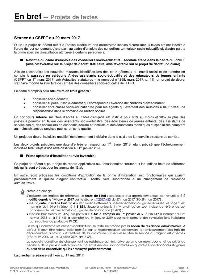 Cig grande couronne actualit s statutaires n 260 avril - Grille indiciaire cadre socio educatif ...