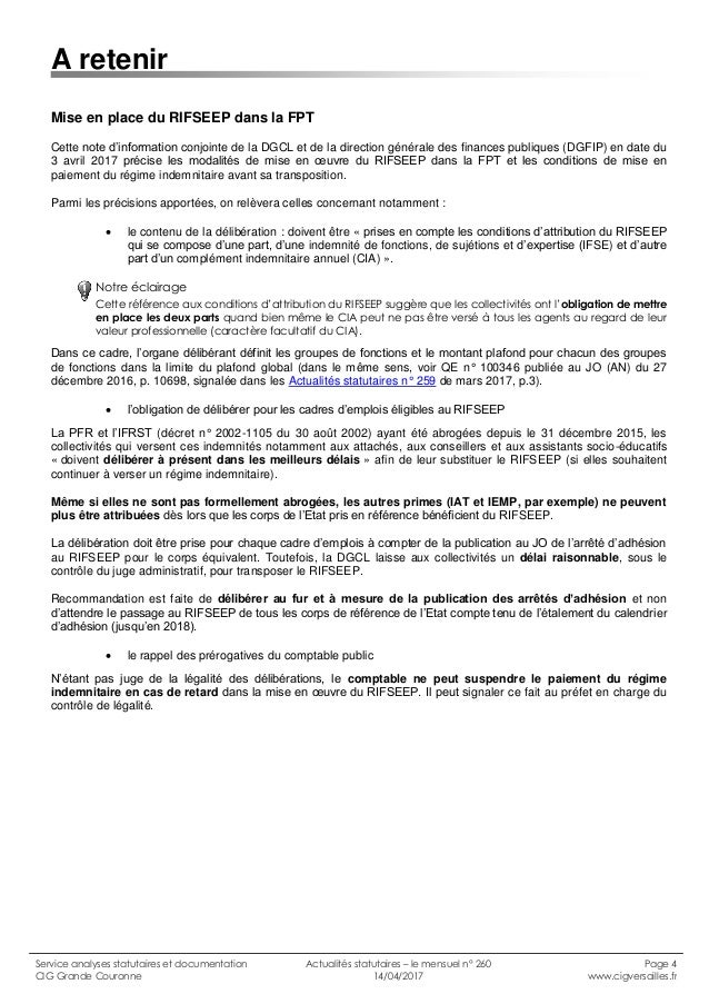 Cig grande couronne actualit s statutaires n 260 avril 2017 1 - Grille indiciaire bibliothecaire ...
