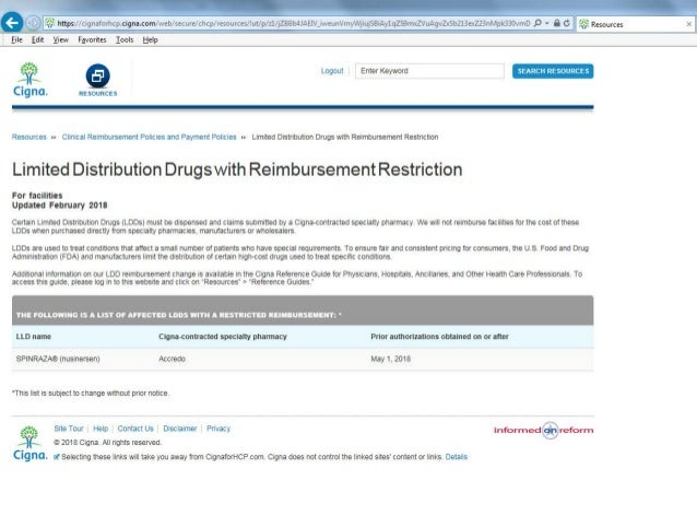 Cigna Limited Distribution Drugs with Reimbursement Restriction