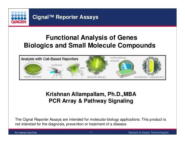 Cignal™ Reporter Assays  Functional Analysis of Genes Biologics and Small Molecule Compounds  Krishnan Allampallam, Ph.D.,...