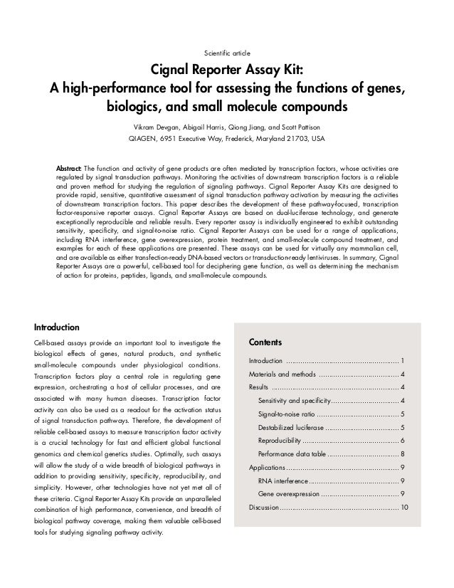 Scientific article  Cignal Reporter Assay Kit: A high-performance tool for assessing the functions of genes, biologics, an...