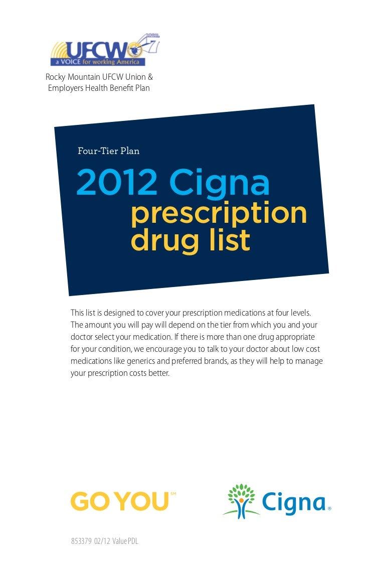 Rocky Mountain UFCW Union & Employers Health Benefit Plan         Four-Tier Plan        2012 Cigna                        ...