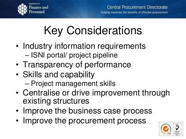 Key Considerations • Industry information requirements – ISNI portal/ project pipeline • Transparency of performance • Ski...