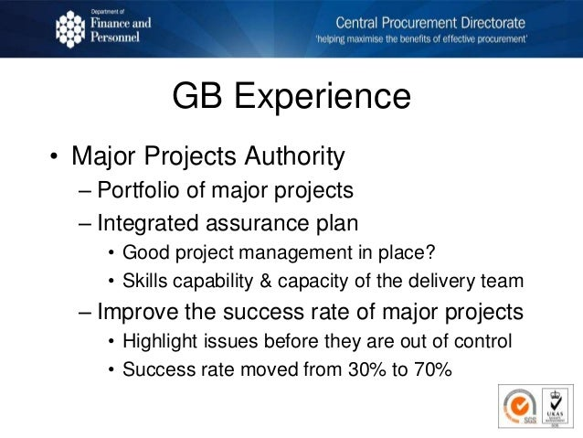 GB Experience • Major Projects Authority – Portfolio of major projects – Integrated assurance plan • Good project manageme...