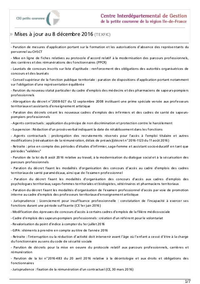 » Mises à jour au 8 décembre 2016 (TEXFIC) - Parution de mesures d'application portant sur la formation et les autorisatio...