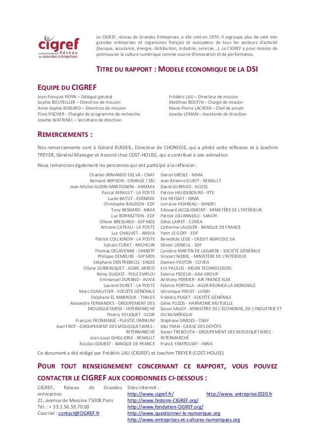 Modèle économique de la DSI Octobre 2015 Eléments du modèle et questions clés SOMMAIRE Introduction..........................