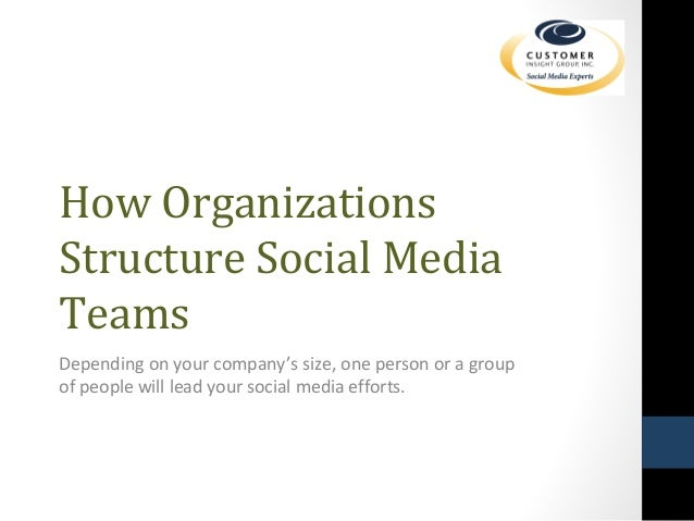 How Organizations  Structure Social Media  Teams  Depending on your company's size, one person or a group  of people will ...