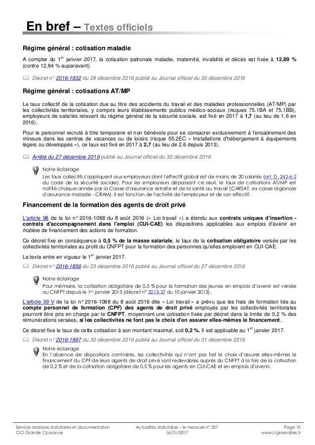 Cig Versailles Actualites Statutaires N 257 Janvier 2017 D Gayraud