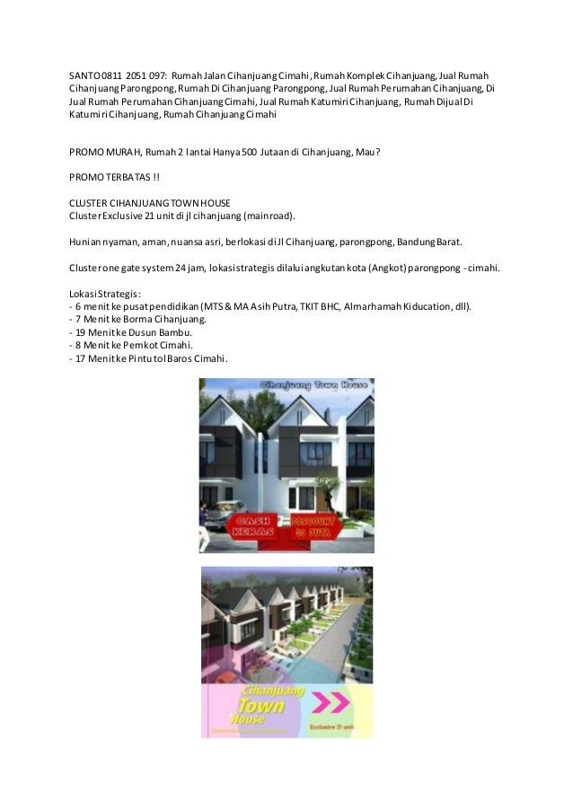 SANTO0811 2051 097: RumahJalanCihanjuangCimahi,RumahKomplekCihanjuang,Jual Rumah CihanjuangParongpong,RumahDi CihanjuangPa...
