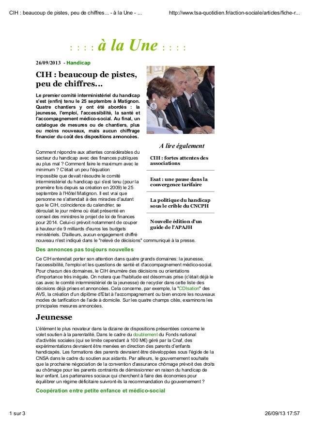 A lire également CIH : fortes attentes des associations Esat : une pause dans la convergence tarifaire La politique du han...