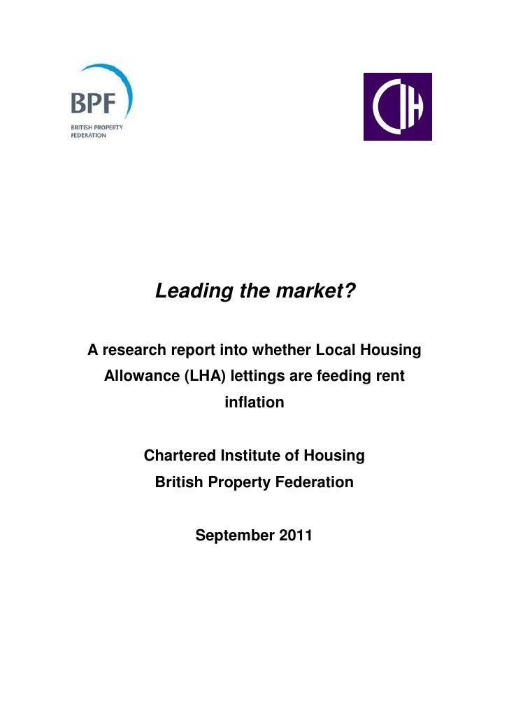 Leading the market?A research report into whether Local Housing  Allowance (LHA) lettings are feeding rent                ...
