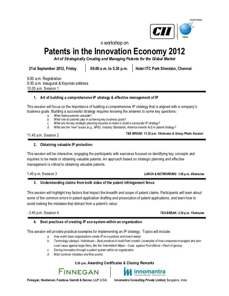 `                                                        A workshop on            Patents in the Innovation Economy 2012  ...