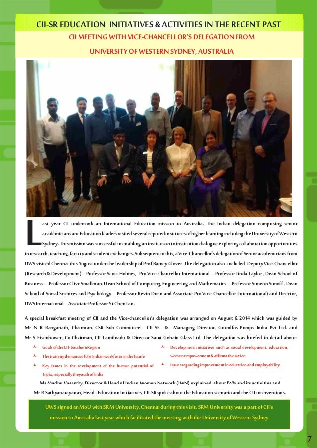 CII-SR EDUCATION INITIATIVES & ACTIVITIES IN THE RECENT PAST  CII MEETING WITH VICE-CHANCELLOR'S DELEGATION FROM  UNIVERSI...