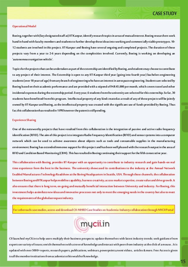 CASE CASE STUDY  STUDY  Operational Model  Boeing, together with (key designated staff at) IIT Kanpur, identify research t...