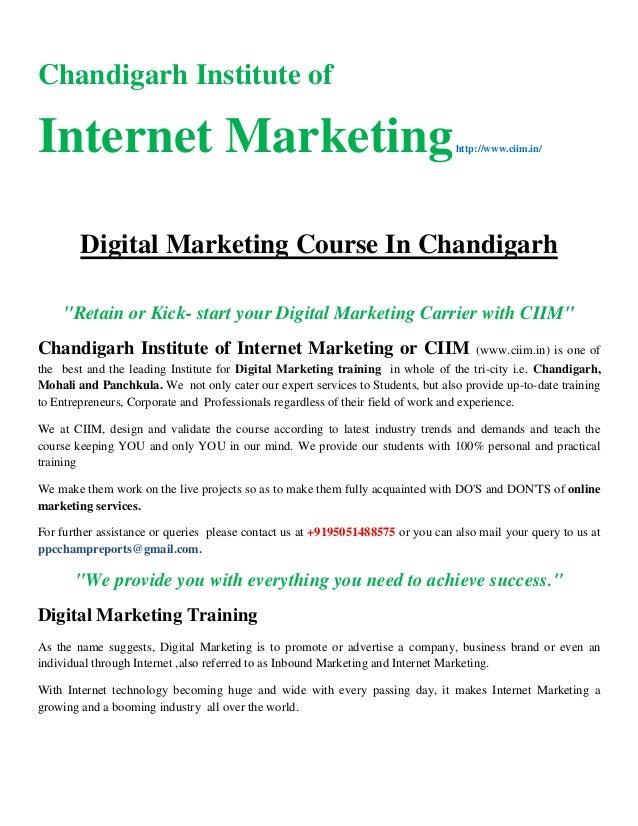 """Chandigarh Institute of Internet Marketinghttp://www.ciim.in/ Digital Marketing Course In Chandigarh """"Retain or Kick- star..."""