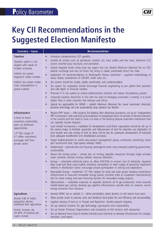 4 policy watch Policy Barometer Key CII Recommendations in the Suggested Election Manifesto Economy – Issues Recommendatio...