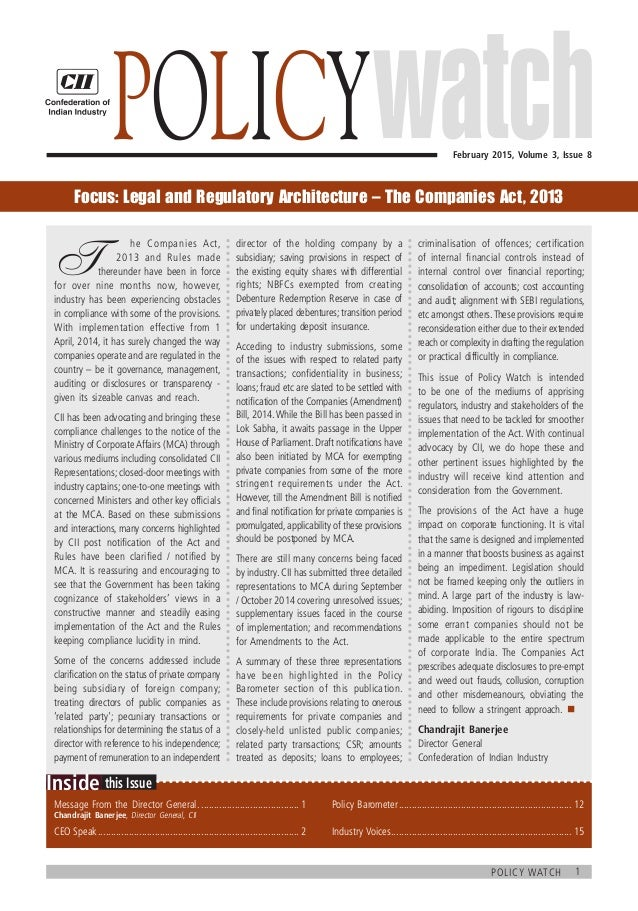 1policy watch  this IssueInside February 2015, Volume 3, Issue 8 Policy T  he Companies Act,  2013 and Rules made the...