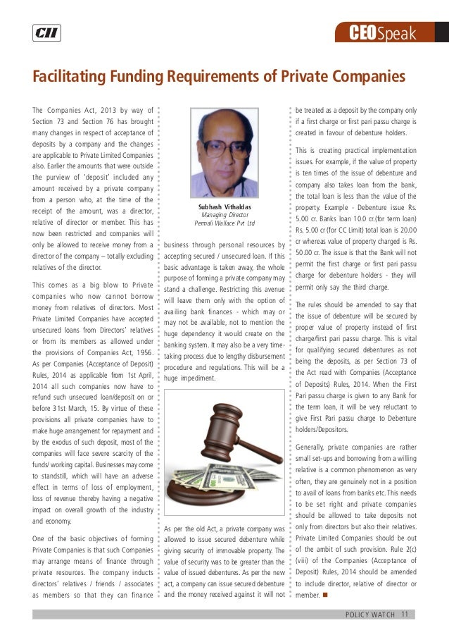 11policy watch CEOSpeak The Companies Act, 2013 by way of Section 73 and Section 76 has brought many changes in respect of...