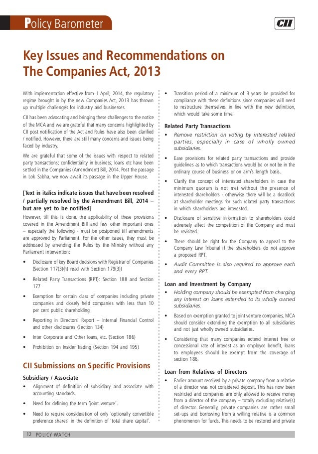 12 policy watch Policy Barometer Key Issues and Recommendations on The Companies Act, 2013 With implementation effective f...