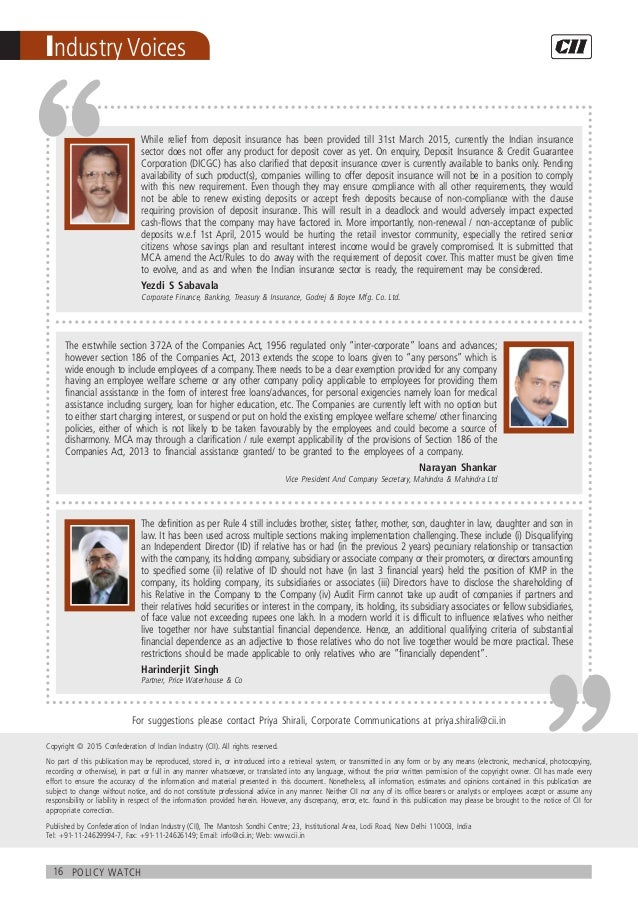 16 policy watch Industry Voices While relief from deposit insurance has been provided till 31st March 2015, currently the ...