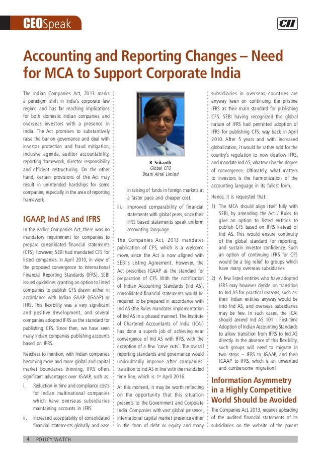 4 policy watch CEOSpeak The Indian Companies Act, 2013 marks a paradigm shift in India's corporate law regime and has far ...